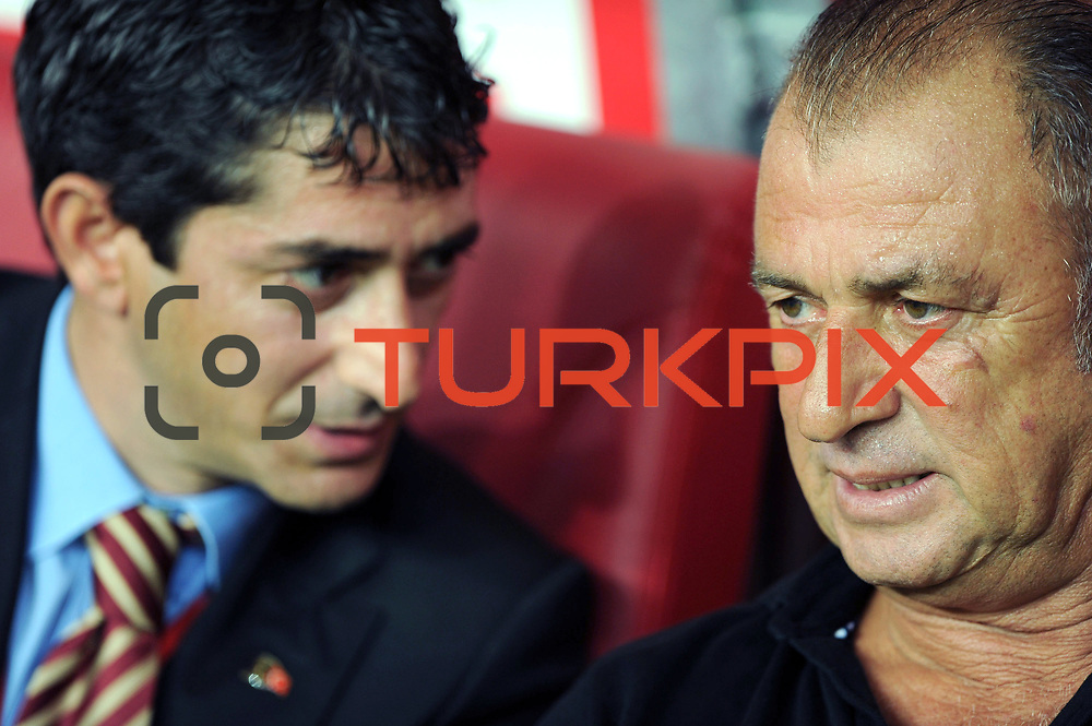 Galatasaray's coach Fatih TERIM (R) during their Friendly soccer match Galatasaray between Liverpool at the TT Arena at Arslantepe in Istanbul Turkey on Saturday 28 July 2011. Photo by TURKPIX