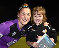 Bristol Academy's Mary Earps with a young supporter at Stoke Gifford Stadium - Mandatory by-line: Paul Knight/JMP - Mobile: 07966 386802 - 27/08/2015 -  FOOTBALL - Stoke Gifford Stadium - Bristol, England -  Bristol Academy Women v Oxford United Women - FA WSL Continental Tyres Cup