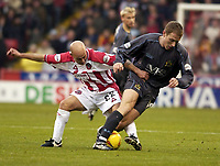 Photo Pete Downing<br />Sheffield Utd V Burnley.<br />Nationwide division one.<br /> 8/11/ 2003.<br />Alan Wright pushes ahead for sheffield.<br /><br /><br />Photo:Peter Downing
