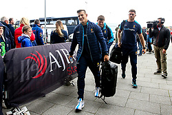 Ryan Mills, Darren Barry and Ryan Bower of Worcester Warriors arrive at The AJ Bell Stadium for his side's Gallagher Premiership fixture against Sale Sharks - Mandatory by-line: Robbie Stephenson/JMP - 09/09/2018 - RUGBY - AJ Bell Stadium - Manchester, England - Sale Sharks v Worcester Warriors - Gallagher Premiership