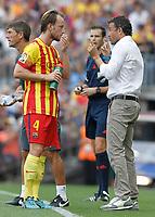 FC Barcelona's coach Luis Enrique Martinez with his player Ivan Rakitic during La Liga match.September 13,2014. (ALTERPHOTOS/Acero)