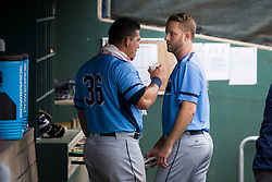 June 5, 2017 - St. Petersburg, Florida, U.S. - WILL VRAGOVIC   |   Times.Charlotte Stone Crabs catcher Wilson Ramos (36) talks with pitcher Brad Boxberger (11) during the game between the Charlotte Stone Crabs and the Clearwater Threshers at Spectrum Field in Clearwater, Fla. on Monday, June 6, 2017. (Credit Image: © Will Vragovic/Tampa Bay Times via ZUMA Wire)