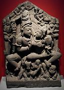 Shiva and parvati (Hindu religion), sculpted in sandstone from Madhya pradesh, India, circa 1000-1050 AD.