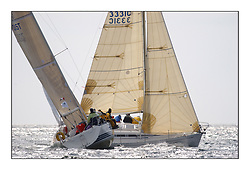 Yachting- The first days inshore racing  of the Bell Lawrie Scottish series 2002 at Tarbert Loch Fyne. Near perfect conditions saw over two hundred yachts compete. <br />Elanor Elan 333 3331C overall winner crosses ahead of Roxanne GBR7015T an X 332 in Class 3<br /><br />Pics Marc Turner / PFM