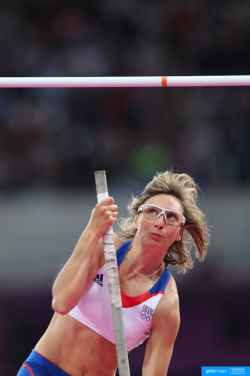 Jennifer Suhr, USA, winning the Women's Pole Vault Final at the Olympic Stadium, Olympic Park, during the London 2012 Olympic games. London, UK. 4th August 2012. Photo Tim Clayton
