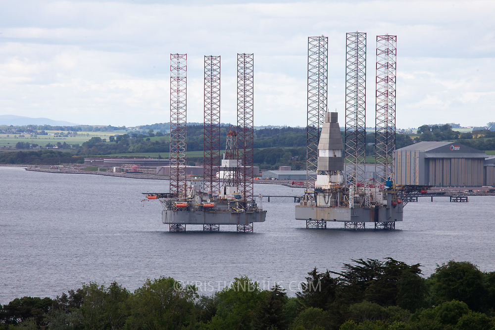 Oil rigs in Cromarty Firth June 10th 2019, Cromarty, Scotland, United Kingdom. The Cromarty Firth is used by oil rig companies for its shelter and close proximity to the North Sea and oil fields to keep their rigs.