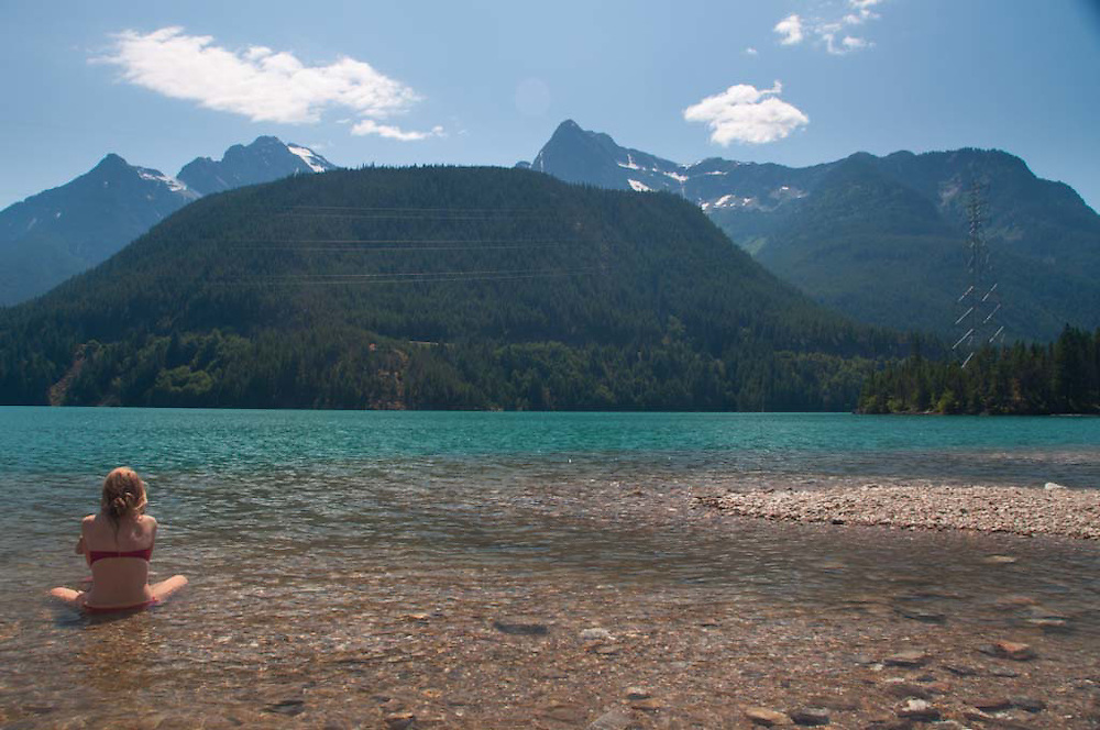 Olivia Takes the Sun at Diablo Lake, North Cascades National Park, Washington, US