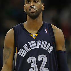 Jan 20, 2010; New Orleans, LA, USA; Memphis Grizzlies guard O.J. Mayo (32) reacts as he walks off the court following a loss the the New Orleans Hornets at the New Orleans Arena. The Hornets defeated the Grizzlies 113-111. Mandatory Credit: Derick E. Hingle-US PRESSWIRE