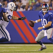 New York Giants quarterback Eli Manning during the New York Giants V Indianapolis Colts, NFL American Football Pre Season match at MetLife Stadium, East Rutherford, NJ, USA. 18th December 2013. Photo Tim Clayton