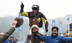 Tom O'Brien celebrates his victory on Elegant Escape in the Coral Welsh Grand National Handicap Chase during the Coral Welsh Grand National day at Chepstow Racecourse.
