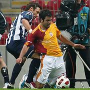 Galatasaray's Juan Emmanuel CULIO (R) during their Turkish Super League soccer match Galatasaray between Kasimpasaspor at the TT Arena at Seyrantepe in Istanbul Turkey on Monday 09 May 2011. Photo by TURKPIX