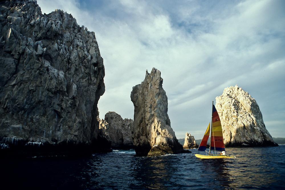 A sailboat off the coast of Baja California.