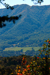 08 October 2016:   A clearing on the side of the mountain becomes the site of a few homesteads. , Townsend, TN