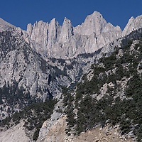 Runners approach Mount Whitney during race from Death Valley.