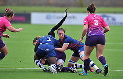 Simi Pam and Megan Barwick of Bristol Bears Women tackle a Loughborough player - RUGBY - Shaftesbury Park - Bristol, England - Bristol Bears Women v Loughborough Lightning  - Allianz Premier 15s