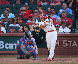 July 8, 2017 - St Louis, MO, USA - The St. Louis Cardinals' Paul DeJong hits a double in the eighth inning, one of his four extra-base hits on the day, against the New York Mets on Saturday, July 8, 2017, at Busch Stadium in St. Louis. The Cards won, 4-1. (Credit Image: © Chris Lee/TNS via ZUMA Wire)