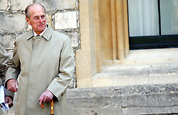 The Duke of Edinburgh attends a parade of modern and Classic MG cars in the quadrangle of Windsor Castle in Berkshire.
