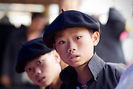Portrait of two young kids wearing a beret, Lao Cai Province, Vietnam, Southeast Asia