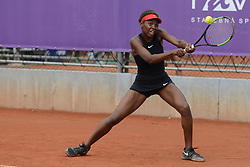 May 16, 2018 - Trnava, Slovakia - FRANCOISE ABANDA of Canada in her first round match in the Empire Slovak Open tennis tournament in Trnava Slovakia (Credit Image: © Christopher Levy via ZUMA Wire)