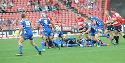 070418 Emirates Airlines Park, Ellis Park, Johannesburg, South Africa. Super Rugby. Lions vs Stormers. Scrum half Jano Vermaak clears the ball from a lose scrum. <br />Picture: Karen Sandison/African News Agency (ANA)