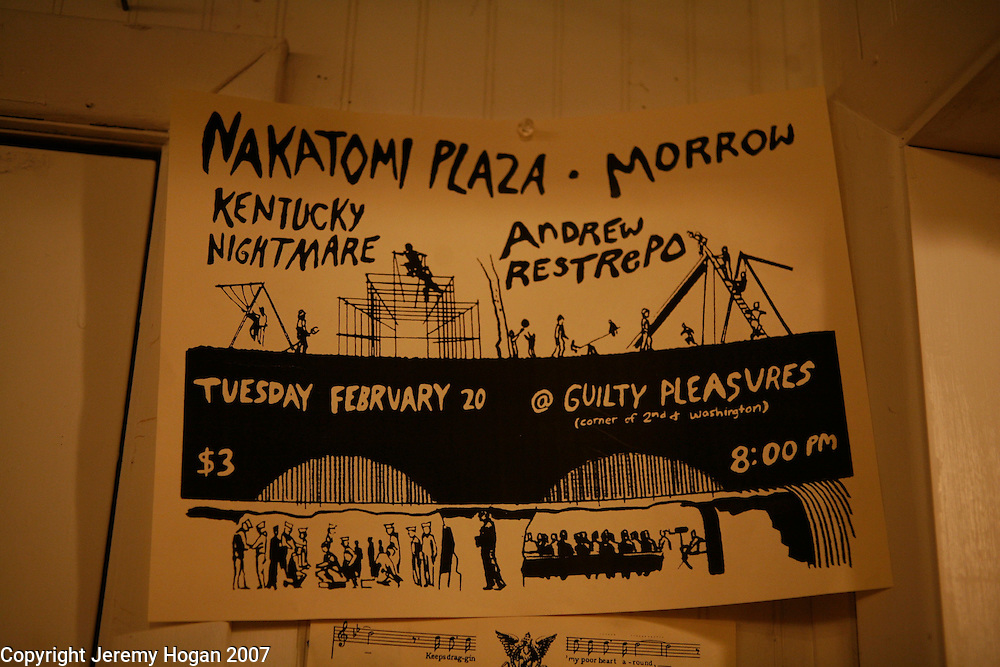 Flyer at Sweet Hickory for a punk show at Guilty Pleasures which is a punk house.