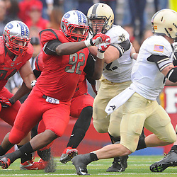 10 November 2012: Rutgers Scarlet Knights defensive lineman Jamil Merrell (92) chases Army Black Knights quarterback Trent Steelman (8) from the pocket during NCAA college football action between the Rutgers Scarlet Knights and Army Black Knights at High Point Solutions Stadium in Piscataway, N.J.. Rutgers defeated Army 28-7.