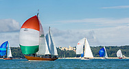 The fleet pass Osborne House while competing on the Solent off the Isle of Wight during the Panerai British Classic Week, the premier classic yacht regatta in the UK which is now in it's 16th year. <br /> Picture date Monday 10th July, 2017.<br /> Picture by Christopher Ison. Contact +447544 044177 chris@christopherison.com