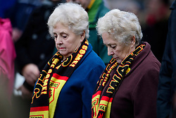 © Licensed to London News Pictures. 01/02/2017. Watford, UK. Mourners and football fans listen to the funeral service of former England football team manager Graham Taylor at St Mary's Church in Watford, Hertfordshire. The former England, Watford and Aston Villa manager,  who later went on to be chairman of Watford Football Club, died at the age of 72 from a suspected heart attack. Photo credit: Ben Cawthra/LNP