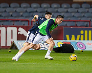 06/10/2020: Dundee FC train at Kilmac Stadium after their Betfred Cup match against Forfar Athletic was postponed due to a positive COVID test result for one of the Forfar players: Jordan Marshall goes past Cammy Kerr <br /> <br /> <br />  :©David Young: davidyoungphoto@gmail.com: www.davidyoungphoto.co.uk