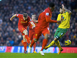 19.01.2013, Anfield, Liverpool, ENG, Premier League, FC Liverpool vs Norwich City, 23. Runde, im Bild Liverpool's captain Steven Gerrard scores the fifth goal against Norwich City during the English Premier League 23th round match between Liverpool FC and Norwich City FC at Anfield, Liverpool, Great Britain on 2013/01/19. EXPA Pictures © 2013, PhotoCredit: EXPA/ Propagandaphoto/ David Rawcliffe..***** ATTENTION - OUT OF ENG, GBR, UK *****