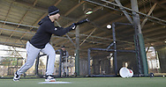 GLENDALE, ARIZONA - FEBRUARY 19: Nick Madrigal #92 of the Chicago White Sox bunts during spring training workouts on February 19, 2019 at Camelback Ranch in Glendale Arizona.  (Photo by Ron Vesely). Subject:   Nick Madrigal