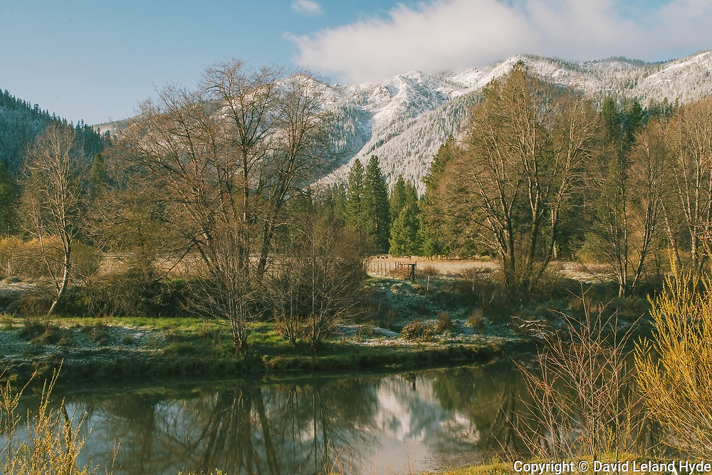 Spring Snow, Grizzly Ridge, Indian Creek, Genesee Valley, California II, Mule Deer, Meadow, Green Pastures, Snow Scenes, Ponderosa Pine, Willows, Cottonwoods, Douglas Fir, Sierra Nevada Mountains, Reflection Pools