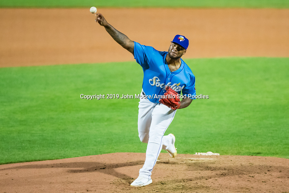 Amarillo Sod Poodles pitcher Jordan Gerrero (40) pitches against the MidlandRockhounds during the Texas League Playoffs on Wednesday, Sept. 4, 2019, at HODGETOWN in Amarillo, Texas. [Photo by John Moore/Amarillo Sod Poodles]