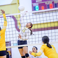 Tohatchi Cougar Kalian Mitchell (14), right, spikes to the Newcomb Skyhawks at Tohatchi High School Thursday.