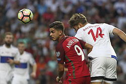 August 31, 2017 - Porto, Porto, Portugal - Portugal's forward Andre Silva (L) with Rogvi Baldvinsson midfielder of Ilhas Faroe (R) during the FIFA World Cup Russia 2018 qualifier match between Portugal and Faroe Islands at Bessa Sec XXI Stadium on August 31, 2017 in Porto, Portugal. (Credit Image: © Dpi/NurPhoto via ZUMA Press)