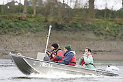 Putney. London,  Great Britain.<br /> CUWBC, Blue Boat Coaches, left. Rob BAKER, Miles FORBES-THOMAS and <br /> 2016 Tideway Week, Putney. Putney Embankment, Championship Course. River Thames.<br /> <br /> Saturday  26/03/2016 <br /> <br /> [Mandatory Credit; Peter SPURRIER/Intersport-images]