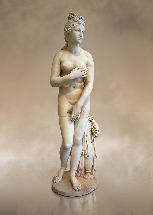 Full length frontal view of 2nd century AD Roman marble sculpture of Aphrodite (Venus), 'Dresden Capitoline Type, copied from a Hellanistic Greek original,  inv 6238, Museum of Archaeology, Italy ..<br /> <br /> If you prefer to buy from our ALAMY STOCK LIBRARY page at https://www.alamy.com/portfolio/paul-williams-funkystock/greco-roman-sculptures.html . Type -    Naples    - into LOWER SEARCH WITHIN GALLERY box - Refine search by adding a subject, place, background colour, museum etc.<br /> <br /> Visit our ROMAN WORLD PHOTO COLLECTIONS for more photos to download or buy as wall art prints https://funkystock.photoshelter.com/gallery-collection/The-Romans-Art-Artefacts-Antiquities-Historic-Sites-Pictures-Images/C0000r2uLJJo9_s0