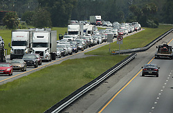 Traffic rolls at a crawl on the northbound lanes of Florida's Turnpike near the intersection of I-75 in Wildwood on Friday, September 8, 2017. Motorists are evacuating for the anticipated arrival of Hurricane Irma. Photo byStephen M. Dowell/Orlando Sentinel/TNS/ABACAPRESS.COM