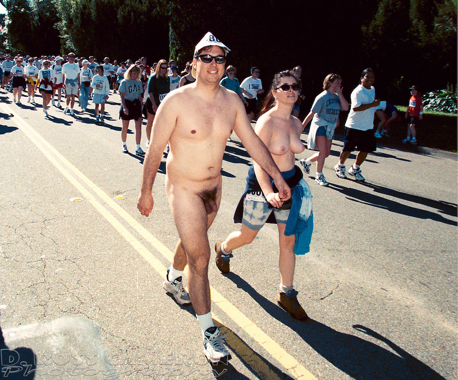 Unidentified couple walks naked through Golden Gate Park at the 87th running of the Bay to Breakers 12K race, Sunday, May 17, 1998 in San Francisco. (Photo by D. Ross Cameron)