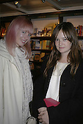 Erin Fetherston and Leith Clark, Book launch of Pretty Things by Liz Goldwyn at Daunt <br />Books, Marylebone High Street. London 30 November 2006.   ONE TIME USE ONLY - DO NOT ARCHIVE  © Copyright Photograph by Dafydd Jones 248 CLAPHAM PARK RD. LONDON SW90PZ.  Tel 020 7733 0108 www.dafjones.com