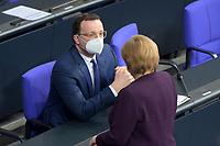 DEU, Deutschland, Germany, Berlin, 27.01.2021: Bundesgesundheitsminister Jens Spahn (CDU) und Bundeskanzlerin Dr. Angela Merkel (CDU) bei der aktuellen Stunde in der Plenarsitzung im Deutschen Bundestag.