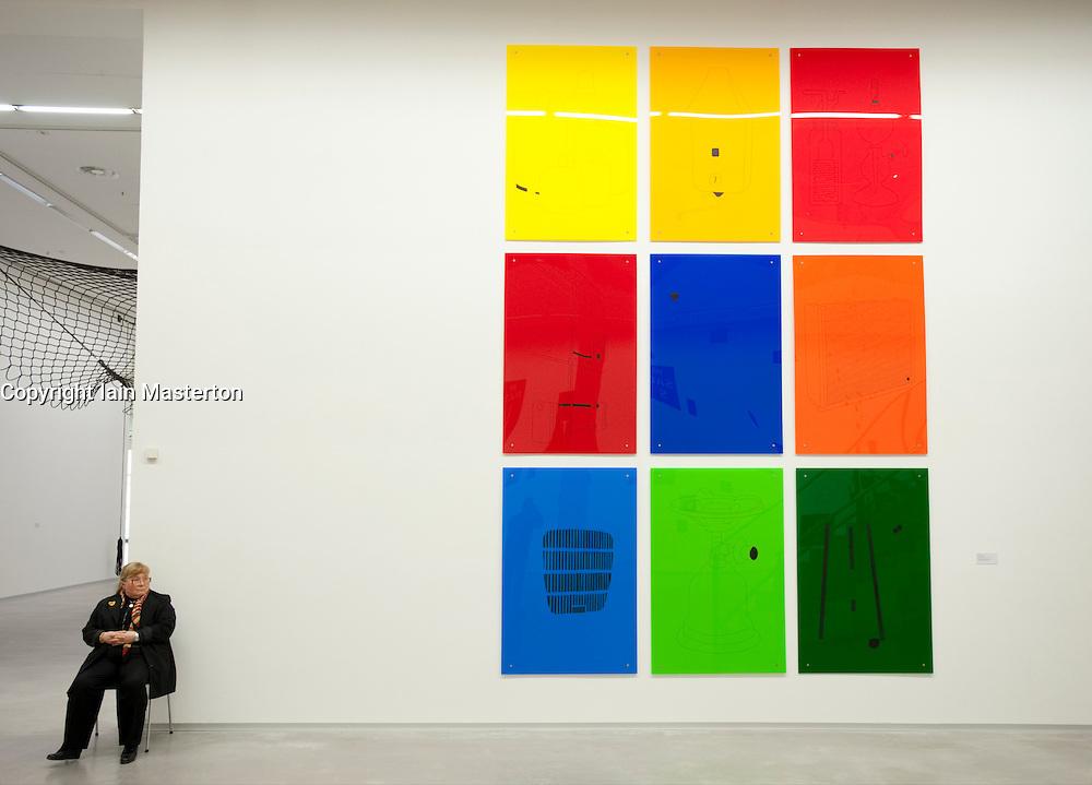Acrylic art installation called gas_minimals by Sybille Hotz at Berlinische Galerie modern art museum in  Berlin Germany