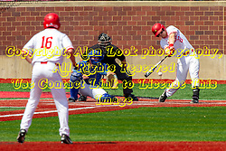 NORMAL, IL - May 01: Derek Parola takes a lead off qst with JOE AEILTS batting, Max Wright catching and J Mark Huesman umpiring during a college baseball game between the ISU Redbirds and the Indiana State Sycamores on May 01 2019 at Duffy Bass Field in Normal, IL. (Photo by Alan Look)