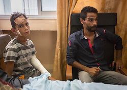 © Licensed to London News Pictures. 17/07/2014. Gaza.   <br /> Montesr Bakir (12), one of the cousins of the 4 boys killed in an Israeli airstrike in Gaza on the 16 Jul 14 recovers in hospital.  The boys were playing on the beach in a fishing port when they were hit by a missile fired from an Israeli ship.    Photo credit: Alison Baskerville/LNP