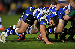 Sam Burgess of Bath Rugby in action at a scrum - Photo mandatory by-line: Patrick Khachfe/JMP - Mobile: 07966 386802 24/04/2015 - SPORT - RUGBY UNION - Bath - The Recreation Ground - Bath Rugby v London Irish - Aviva Premiership