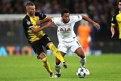 13 September 2017 - Champions League Football - Tottenham Hotspur v Borussia Dortmund - Andriy Yarmolenko of Dortmund and Mousa Dembele of Tottenham battle for the ball - Photo: Charlotte Wilson