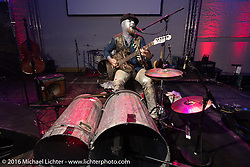 One man band performing at a great evening Intermot sponsored party at the very cool New Yorker / Dock One warehouse after another day at the Intermot Motorcycle Trade Fair. Cologne, Germany. Thursday October 6, 2016. Photography ©2016 Michael Lichter.