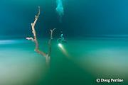 scuba diver drifts above foggy layer of hydrogen sulfide that blankets the halocline at 30m depth in  Cenote Angelita, near Tulum, Yucatan Peninsula, Mexico