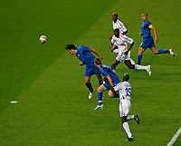 Photo: Glyn Thomas.<br />Italy v France. FIFA World Cup 2006 Final. 09/07/2006.<br /> Luca Toni (L) scores for Italy but the goal is ruled offside.