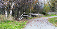 A gravel trail and fencing on a fall day at Willband Creek Park in Abbotsford, British Columbia, Canada.